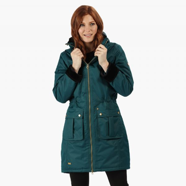 Women's Romina Waterproof Insulated Parka Jacket Deep Teal
